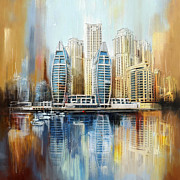 Dubai Framed Prints - Dubai Skyline Framed Print by Corporate Art Task Force
