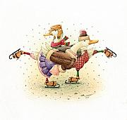 Holiday Drawings Prints - Ducks Christmas Print by Kestutis Kasparavicius