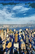 New York State Paintings - East view from Empire State Building by George Atsametakis