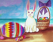 Easter Eggs Paintings - Easter At The Beach by Denise Fulmer
