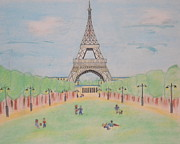 Paris Pastels Posters - Eiffel Tower Poster by Denise Tomasura
