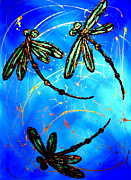 Lyndsey Hatchwell Art - Electric Blue Dragonfly Flit by Lyndsey Hatchwell