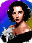 Movie Stars Paintings - Elizabeth Taylor by Allen Glass