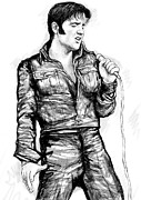 Elvis Presley Art - Elvis Presley art drawing sketch portrait by Kim Wang
