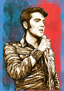 King Of Pop Prints - Elvis Presley - Modern art drawing poster Print by Kim Wang