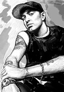 Eminem Posters - Eminem art drawing sketch portrait Poster by Kim Wang