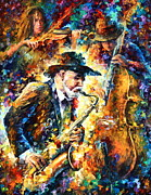 Female Musicians Painting Originals - Endless tune by Leonid Afremov