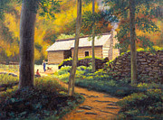 Bales Paintings - Ephraim Bales Cabin by Carole Weaver