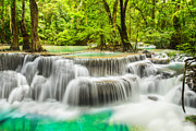 Fresh Green Posters - Erawan Waterfall in Kanchanaburi Province Poster by Anek Suwannaphoom