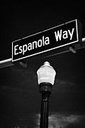 Espanola Posters - Espanola Way Street Sign Sobe Miami South Beach Florida Usa Poster by Joe Fox