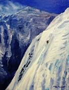 Ice Climbing Paintings - Everest West Ridge by Tom Siebert