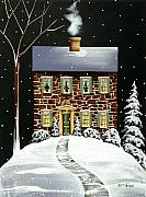 Folk Art Paintings - Evergreen Cottage by Catherine Holman