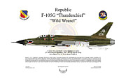 Republic Prints - F-105G Thunderchief Wild Weasel Print by Arthur Eggers