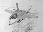 Lightening Drawings Prints - F-35 Joint Strike Fighter Print by Jim Hubbard