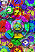 Watches Digital Art Prints - Faces of Time 1 Print by Mike McGlothlen