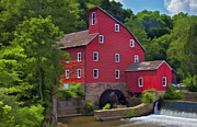 David Letts - Faded Red Water Mill on...