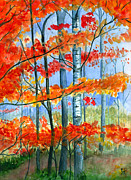 Fall Color Painting Posters - Fall Rain Poster by Katherine Miller
