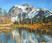 Rural Snow Scenes Prints - Fall Reflections - Cascade Mountains Print by Mary Ellen Anderson