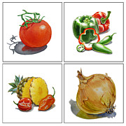Pepper Painting Prints - Farmers Market Delight  Print by Irina Sztukowski