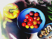 Tomatoes Mixed Media Prints - Farmers Market Print by Dennis Buckman