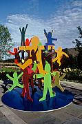 Colorful Art Sculpture Framed Prints - Fathers and Sons Framed Print by Peter Michel