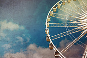 Turquoise Framed Prints - Ferris wheel retro Framed Print by Jane Rix