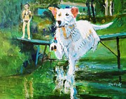 Dog Swimming Paintings - Fetching by Judy Kay