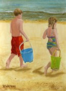 Little Boy Prints - Fetching Sea Water Print by Vicky Watkins
