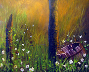 Old Fence Posts Originals - Field Of Butterflies by Sharon Burger