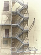 Stone Steps Prints - Fire Escape Print by Rudy Umans