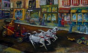 Store Fronts Paintings - Fire on Main Street by William Gabel