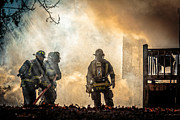 Fire Photo Prints - Firefighters Print by Everet Regal