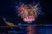 Converge Prints - Fireworks at Pattaya beach Print by Anek Suwannaphoom