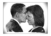 Michelle-obama Drawings - First Order of Business by Brian Wylie