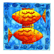Patterned Drawings Metal Prints - 2 Fish Square Metal Print by Julie Nicholls