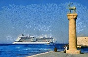 Statue Paintings - Fishing at the entrance of Mandraki port by George Atsametakis