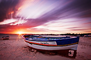 Fishing Boat Sunset Posters - Fishing Boat at Sunset / Tunisia Poster by Barry O Carroll