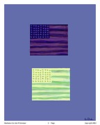 Us Flag Drawings - 2 Flags Print by Eric  Schiabor