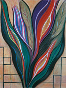 Green Movement Pastels Posters - Flame Bouquet Poster by Birgit Seeger-Brooks