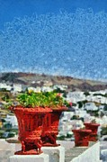 Trip Paintings - Flowerpots in Sifnos island by George Atsametakis