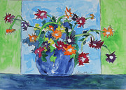Basic Paintings - Flowers in Green and Blue by Esther Newman-Cohen
