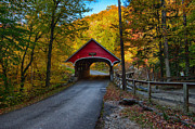 """autumn Foliage New England"" Prints - Flume Gorge covered bridge Print by Jeff Folger"