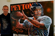 Autographed Paintings - For Sale  Peyton Manning Original Painting Also 18 Limited Edition  Prints  by Sports Art World Wide John Prince
