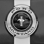 Black And White Framed Prints - Ford Mustang GT 350 Emblem Gas Cap Framed Print by Jill Reger