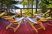 Green Canoe Prints - Forest cottage deck and chairs Print by Elena Elisseeva