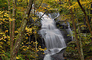 Buttermilk Falls Framed Prints - Forest Waterfall In Autumn Framed Print by Stephen  Vecchiotti