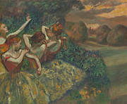 Tutu Painting Posters - Four Dancers Poster by Edgar Degas