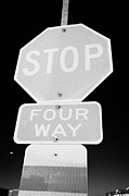 Crosswalk Framed Prints - four way stop sign with crosswalk Canada Framed Print by Joe Fox