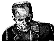 Horror Movies Drawings - Frankenstein Monster by Joseph Capuana
