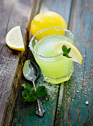 Glass Table Reflection Posters - Fresh lemonade Poster by Mythja  Photography